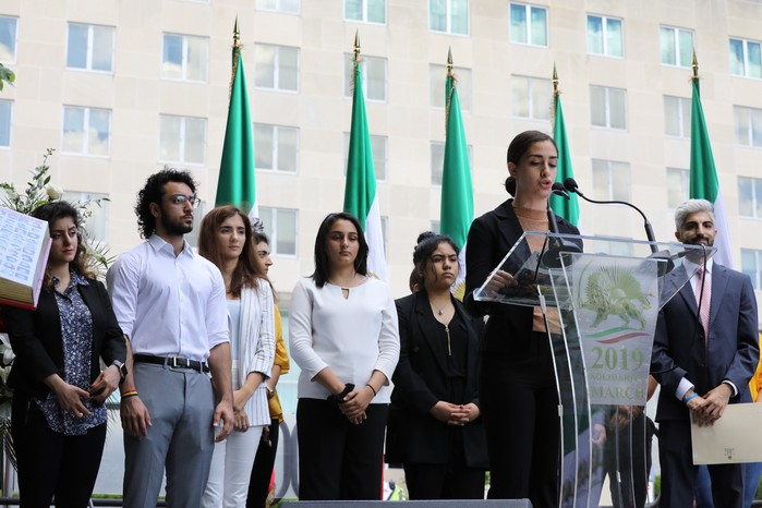 Solidarity March 2019 - Youth Rep. Speaking - Iranian American Communities Solidarity March with Iranian People for Regime Change - June 21, 2019 - Washington DC across DOS