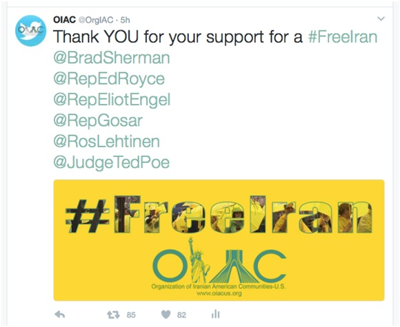 Tweet by OIAC - Regards for support of Free Iran