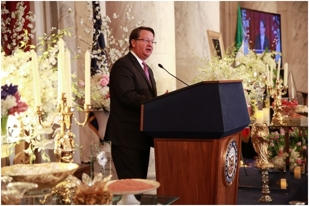 Senator Gary Peters , Member, Senate Homeland Security & Governmental Affairs Committee and Armed Services Committee at Iranian New Year (Nowruz) Luncheon in Senate Kennedy Caucus Room, organized by Organization of Iranian American Communities-US (OIAC) on March 15, 2017.