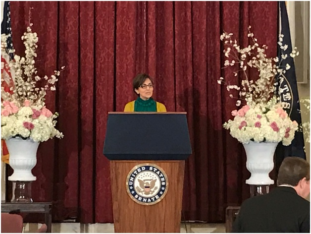 Dr. Ramesh Sepehrrad welcomes the Senators, their staffs, Embassies' representatives and the media to the Senate Nowruz event. The Senate event was organized by Organization of Iranian American Communities-US (OIAC)