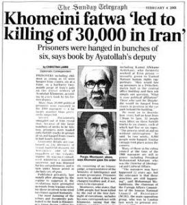Khomeini Fatwa 'Led to Killing of 30,000 in Iran