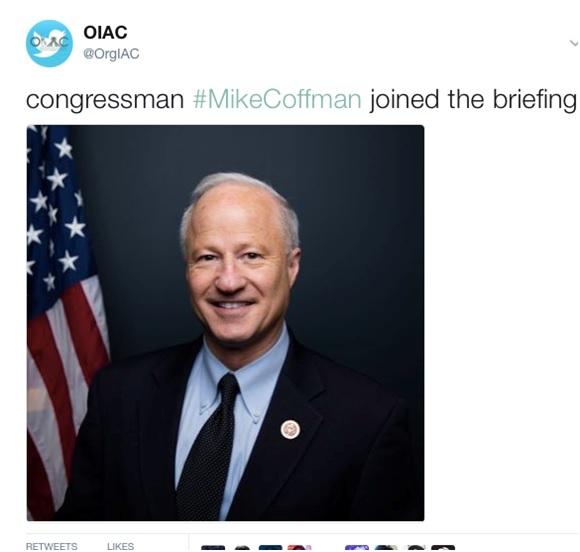 OIAC Tweet on joining of Congressman Mike Coffman