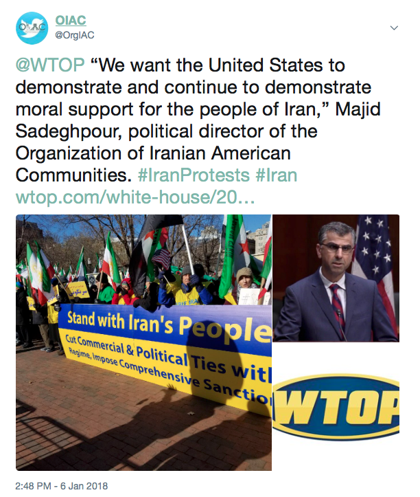 OIAC Tweet on Iran Protests