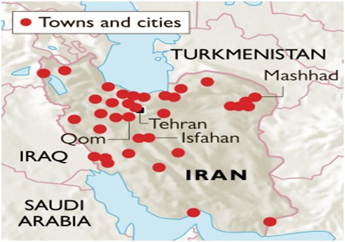 Map showing towns & cities of Iran