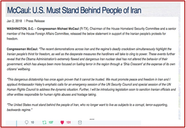 Statement In Support Of Iranian People's Protest - McCaul