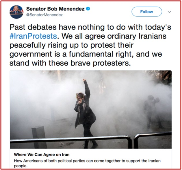 Tweet By Senator Bob Menendez