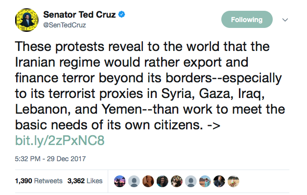 Tweet By Senator Ted Cruz