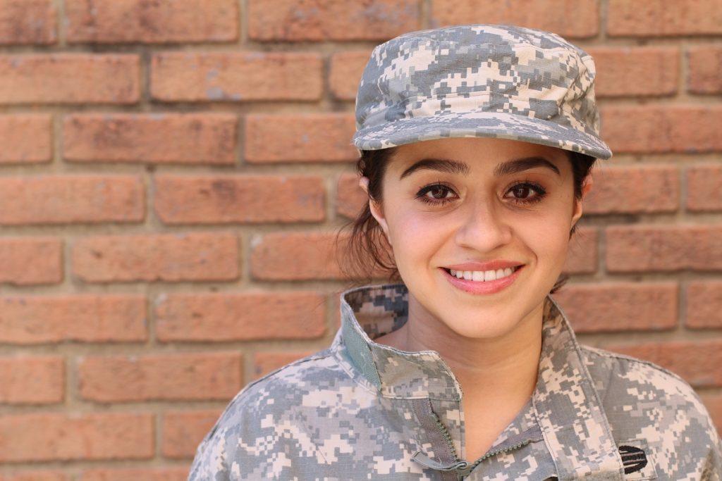 Iranian-American female in US army uniform
