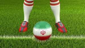Soccer ball with Iranian flag