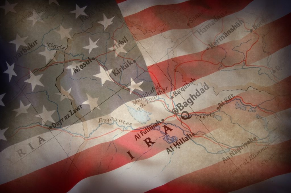 US flag and map of Iraq