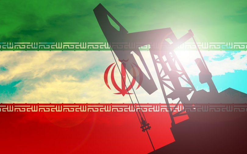 Iran flag oil rig
