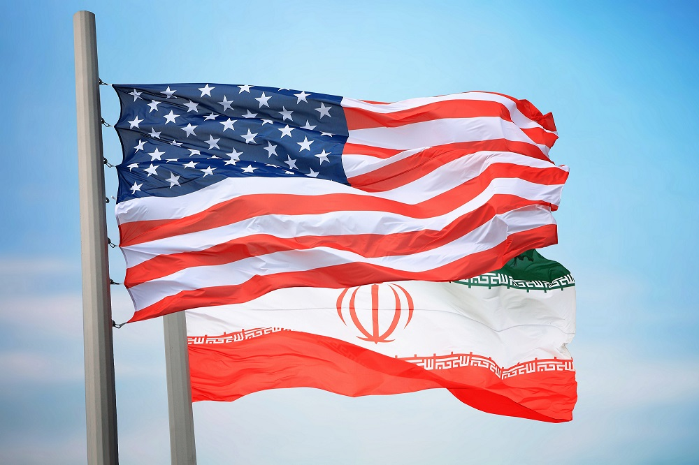 Iranian American Flags