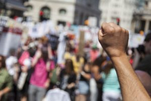 Raised Fist at Protest
